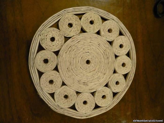 Плетеная подставка своими руками